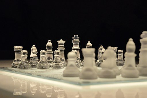 Chess, Chess Pieces, Glass, Reflection